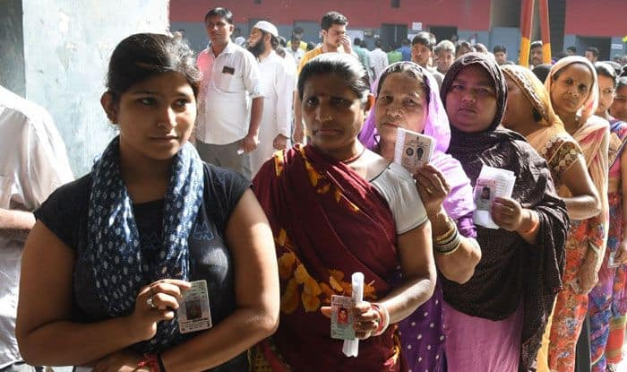 Women waiting in line to vote in Ghaziabad