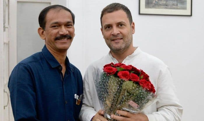 Girish Chodankar with Rahul Gandhi