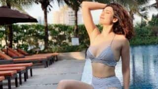 Karishma Tanna Looks Smoking Hot in Sexy Black And White Bikini as She Spends Her Sunday by The Pool
