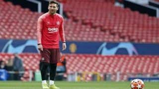 Lionel Messi Arrives at Old Trafford Ahead of Champions League Tie Against Manchester United | See Pic