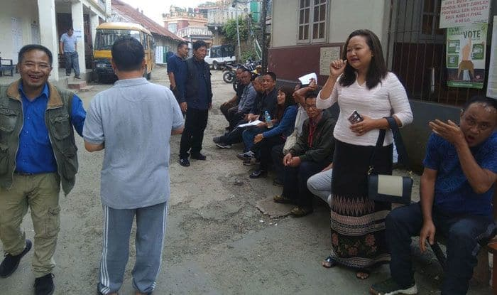 Voters at polling station in Aizawl