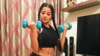 Bhojpuri Bombshell Monalisa Looks Sizzling Hot in Black Crop Top And Shorts as She wishes Her Fans Happy World Health Day