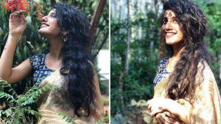 Priya Prakash Varrier, Internet Wink Girl Looks Enchanting in Sheer Golden Saree And Bindi in Her Latest Photoshoot