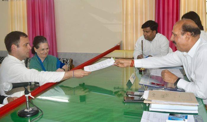Rahul Gandhi filing nomination in Amethi
