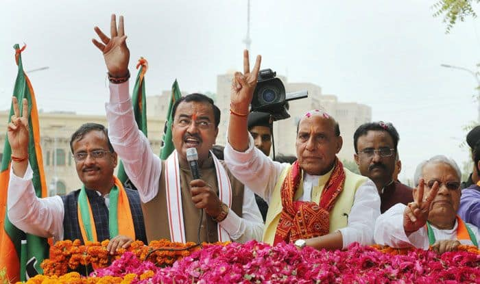 BJP leader Rajnath Singh in Lucknow