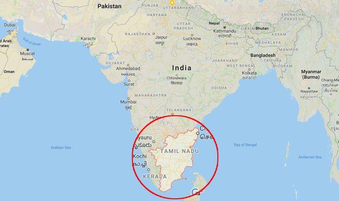 Map showing Tamil Nadu