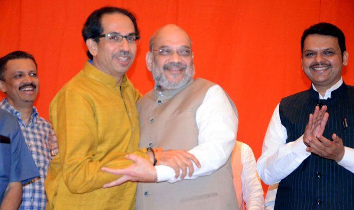 Uddhav Thackeray with Amit Shah