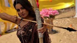 Anita Hassanandani Looks Super Sexy in a Brown-Golden Saree as She Poses With Bow And Arrow, See Pic