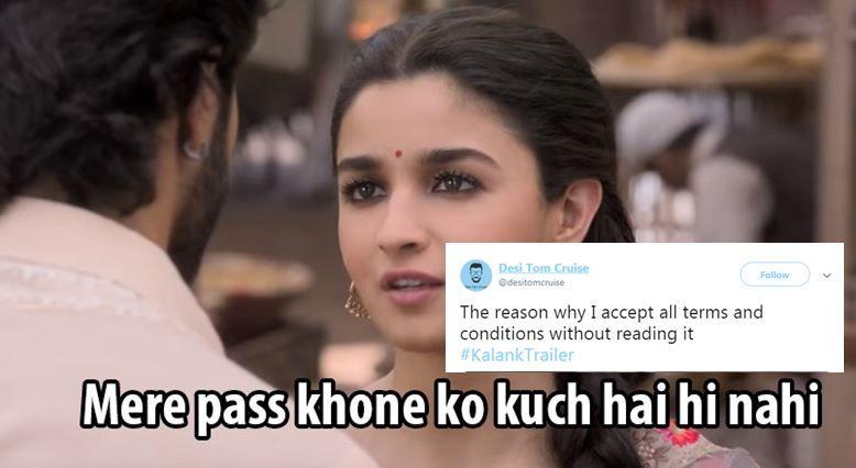 Kalank Trailer Memes: Varun Dhawan, Alia Bhatt's Film Triggers Hilarious Memes And Jokes