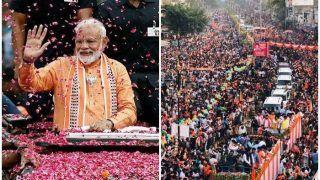 VIDEO: पीएम मोदी का वाराणसी में ग्रैंड रोड शो, भारी भीड़ उमड़ी, शुक्रवार को करेंगे नामांकन