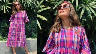Hina Khan Keeps it Comfy Yet Stylish in Checkered Dress on a Bright Sunny Day, See Pictures