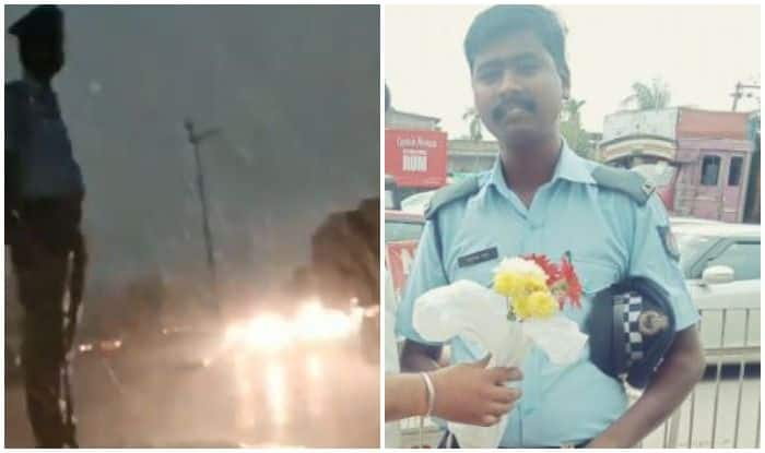 Assam Traffic Cop Braves Blinding Rain to Perform Duty, Twitterati Salute Him on Seeing Viral Video