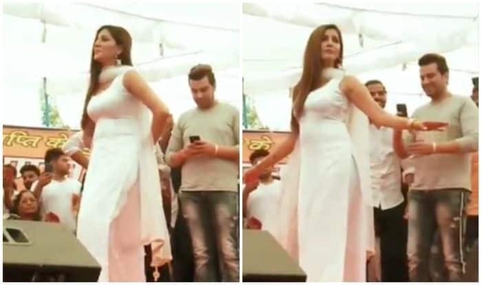 Sapna Choudhary Flaunts Sexy Thumkas on Teri Aakhya Ka Yo Kajal During Stage Performance, Looks Hot in White Suit – Watch