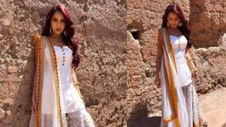 Nora Fatehi Looks to-Die-For in White Gharara Set, See Pictures