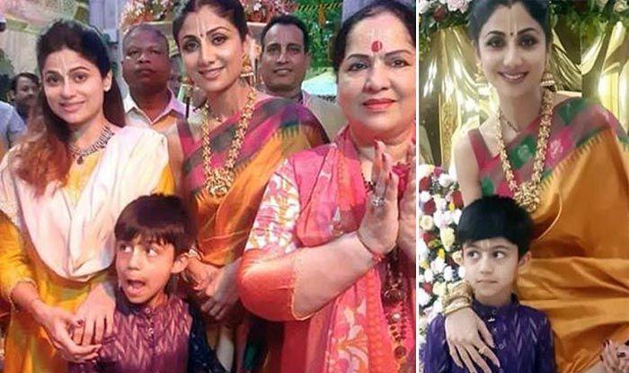 Shilpa Shetty Visits Iskcon With Son, Mother And Sister Shamita Shetty