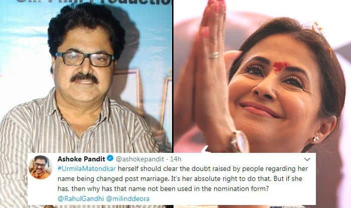 Ashoke Pandit Comments on Urmila Matondkar-Name Change Controversy, Questions Her Name on Nomination Form