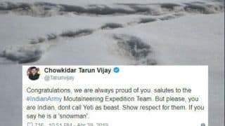 Yeti Footprints Spotted by Indian Army, BJP Leader Tarun Vijay Says 'Show Respect', Twitterati is Speechless
