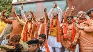 BJP Office in UP Soaked in Saffron Hue Amid Chants of 'Har Har Modi'
