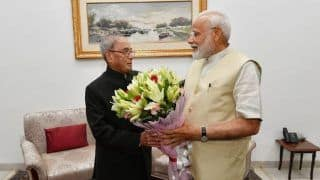 Narendra Modi Calls on Pranab Mukherjee to Seek His Blessings