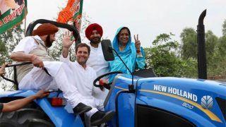 VIDEO: ट्रैक्टर चलाते नजर आए राहुल गांधी, साथ में सीएम कैप्टन अमरिंदर सिंह