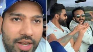 ICC World Cup 2019: Rohit Sharma Plays Host During Bus Ride From London to Cardiff, Takes Cheeky Jibe at Kedar Jadhav on His Special Appearance in Race 4 | WATCH VIDEO