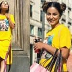 Hina Khan Soaks in The Sun as She Poses in Yellow T-Shirt Dress