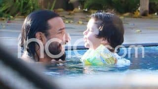 Saif Ali Khan And Taimur Ali Khan Beat The Heat as They Take a Dip in The Pool, See Picture