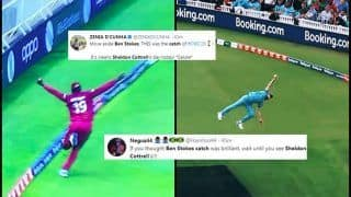 Sheldon Cottrell or Ben Stokes? Twitter Divided After Windies Cricketer Takes Stunning Catch to Dismiss Steve Smith During ICC World Cup 2019 Clash Against Australia | SEE POSTS