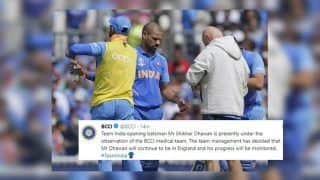 ICC Cricket World Cup 2019: Shikhar Dhawan is Presently Under The Observation of The BCCI Medical Team : Injury Update