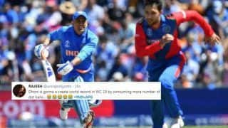 MS Dhoni TROLLED For Slow Batting During India vs Afghanistan ICC Cricket World Cup 2019 Match at Southampton | SEE POSTS