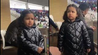 India vs New Zealand: MS Dhoni's Daughter Ziva's Expression Steals Show After Ind vs NZ ICC Cricket World Cup 2019 Game at Trent Bridge Gets Called Off Due to Rain | SEE PIC