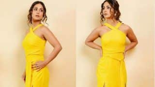 Hina Khan Looks Nothing Less Than Sunshine in Bright Yellow Dress And Nude Makeup
