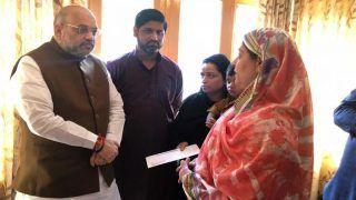 कश्मीर में हैं गृह मंत्री अमित शाह, आतंकवादी हमले में शहीद इंस्पेक्टर के परिवार से मिले