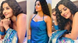 Bhojpuri Bombshell And Nazar Fame Monalisa Sizzles in Halter Neck Blue Suit As She Enjoys Mumbai Rains
