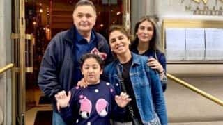 Rishi Kapoor Poses With 'FamJam' Neetu Kapoor, Riddhima Kapoor Sahni, Samara Sahni in New York