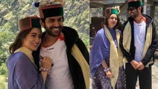 Sara Ali Khan, Kartik Aaryan Strike a Happy Pose in Himachali Caps in Shimla, Pictures go Viral