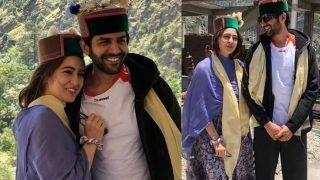 Sara Ali Khan, Kartik Aaryan Strike a Happy Pose in Himachali Caps in Shimla, Pictures go Viral