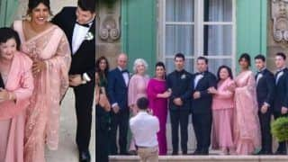 Joe Jonas-Sophie Turner Wedding: Priyanka Chopra Opts For Pastel Saree by Sabyasachi Mukherji