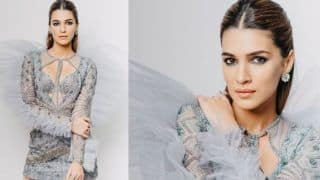 Kriti Sanon Turns up The Heat in Shimmery Grey Ruffled Falguni Shane Peacock Bodycon Dress