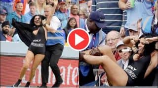 Female Streaker Elena Vulitsky Promoting an Adult Website Tries to Invade Pitch During The ICC Cricket World Cup 2019 Final Between England-New Zealand | WATCH VIDEO