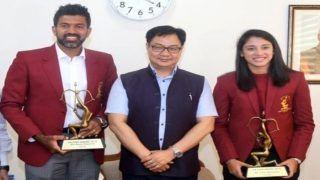 Sports Minister Kiren Rijiju Confers Arjuna Award to Rohan Bopanna, Smriti Mandhana