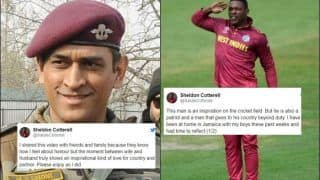 West Indies Cricketer Sheldon Cottrell Salutes Lt Col MS Dhoni For His Commitment Towards Indian Army: 'The Man is an Inspiration' | SEE POSTS
