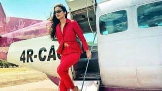 Manushi Chhillar Rocks Her Red Pantsuit Look as She Travels to Sri Lanka in Private Jet