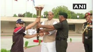 Rajnath Singh Lights 'Victory Flame' in Delhi, to be Merged With Eternal Flame on Kargil Vijay Diwas
