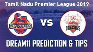 Dream11 Team Dindigul Dragons vs Chepauk Super Gillies Match 1 TNPL - Cricket Prediction Tips For Today's T20 Match CHE vs DIN at NPR College Ground, Dindigul