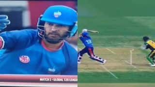 Yuvraj Singh Disappoints on His Debut in Global T20 Canada, Walks Back to Pavilion Despite Being Not Out During Toronto Nationals vs Vancouver Knights Match | WATCH VIDEO