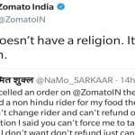 Zomato's Epic Reply to User After he Cancels Order on Receiving it From 'Non-Hindu Rider' Wins Twitterati's Hearts!