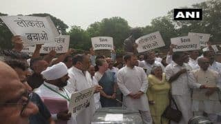 'Stop Bulldozing State Govts,' Reads Placards of Oppn Leaders Protesting Against BJP in Parliament
