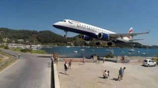 Viral Video: Airplane Lands Just a Few Feet Away From Tourist