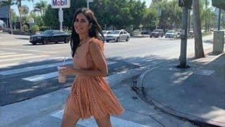 Katrina Kaif Walks Like a Boss Lady in Peach Dress And Beige Heels in Crosswalk